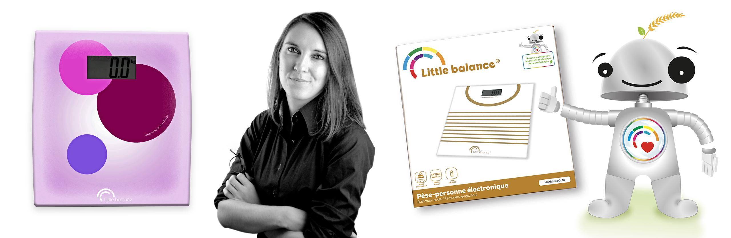packaging Little balance avec mascotte et photo de Delphine ribeyre